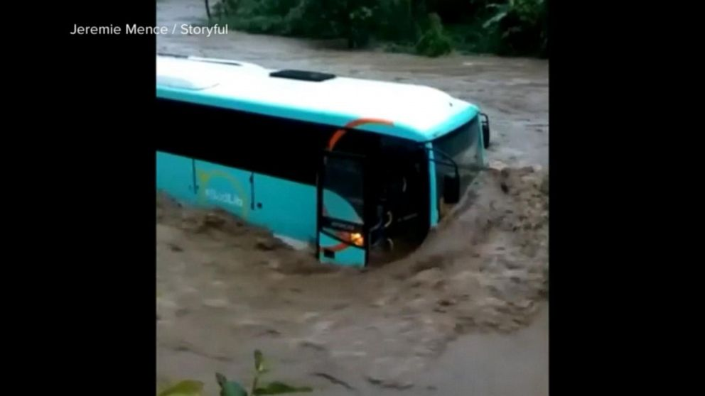 Dorian inundates Martinique with rains washing away roads