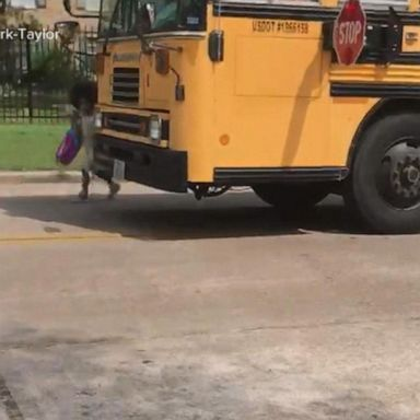 Car nearly hits girl getting off school bus | GMA