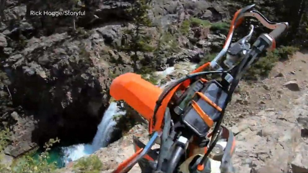 Motorcycle rider remarkably unhurt after flying over cliff in Colorado