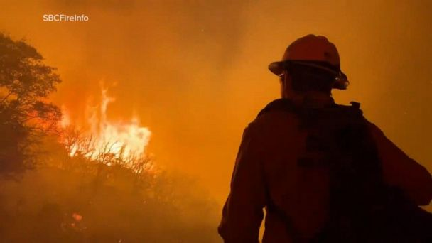 Wildfire fueled by wind in Santa Barbara County