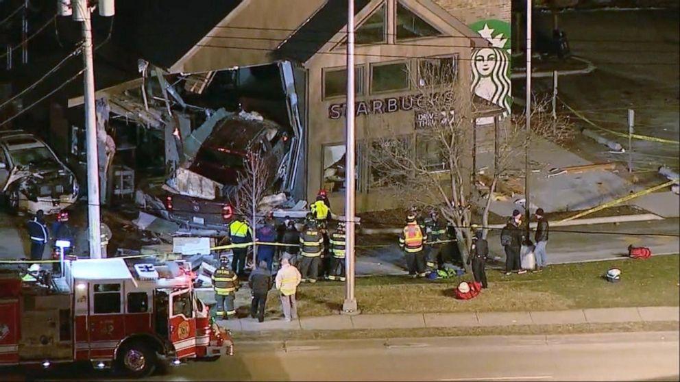 Truck slams Starbucks in Illinois