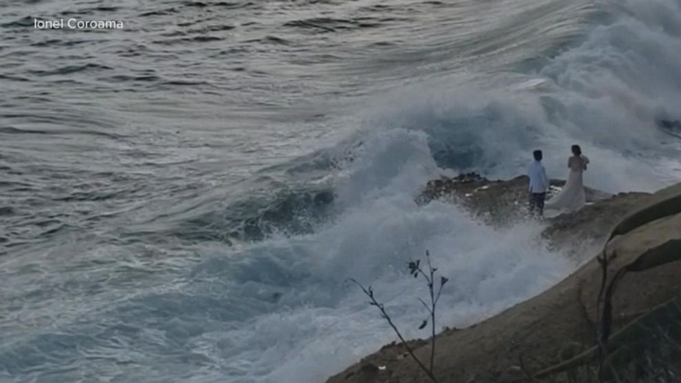 California couple washed into the ocean while taking wedding photos