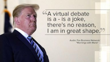 VIDEO: President Trump rejects 'virtual' presidential debate amid COVID-19 battle