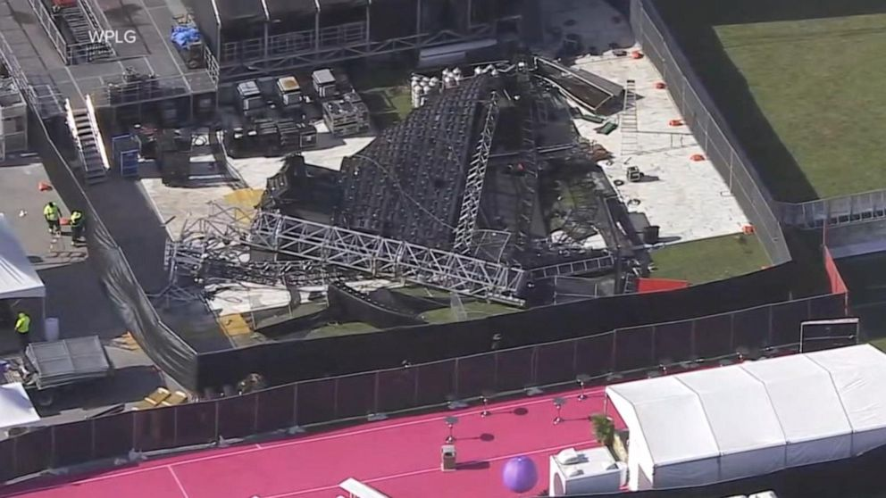 Giant video wall collapses at Hard Rock Stadium in Miami