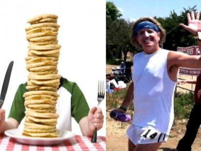 VIDEO: While Greg Hardesty burns 10,000 calories, his son Rio eats 10,000 calories.