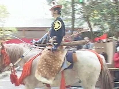 VIDEO: Japanese mounted archers hit targets while riding horseback.