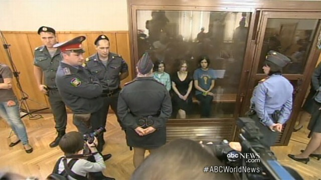 VIDEO: Russian judge sends three women punk rockers to prison for mocking President Putin.