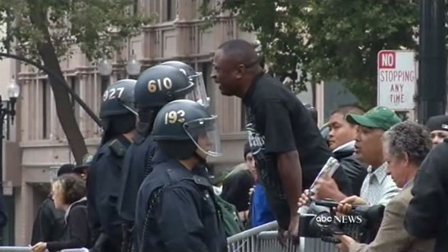 Video captures chaotic scenes from Wall Street protests in California.