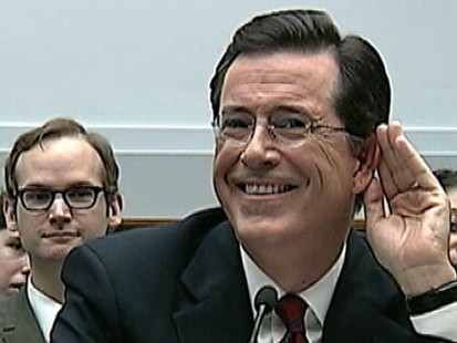 VIDEO: Comedian Stephen Colbert was asked to leave while testifying on Capitol Hill.
