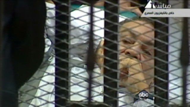 VIDEO: Former Egyptian president Hosni Mubarak lies on a stretcher behind bars.