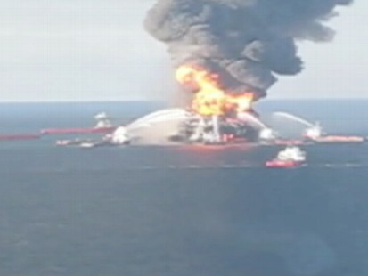 VIDEO: An aerial view of the effort to stop the oil from reaching the coast.