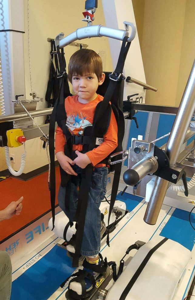 PHOTO: Joey Wilcox receives inpatient care at Kennedy Krieger Institute in Baltimore, where he is going extensive physical therapy to improve mobility after he started showing signs of AFM in September 2018.
