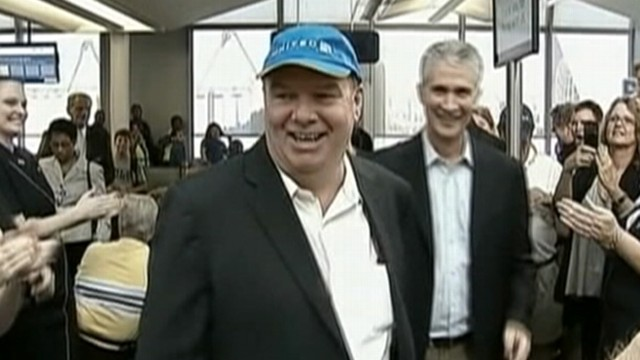 VIDEO: Tom Stuker is honored for being first United customer to fly 10 million miles.