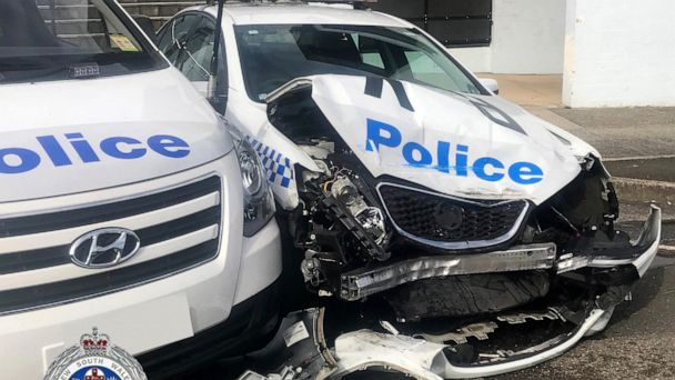 Sydney police find drug haul in van that hit police cars