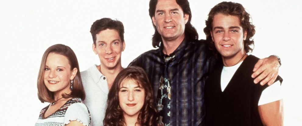 PHOTO: Jenna Von Oy, Michael Stoyanov, Mayum Bialik, Ted Wass, and Joey Lawrence, the cast of Blossom, are seen in a 1993 promotional photo.