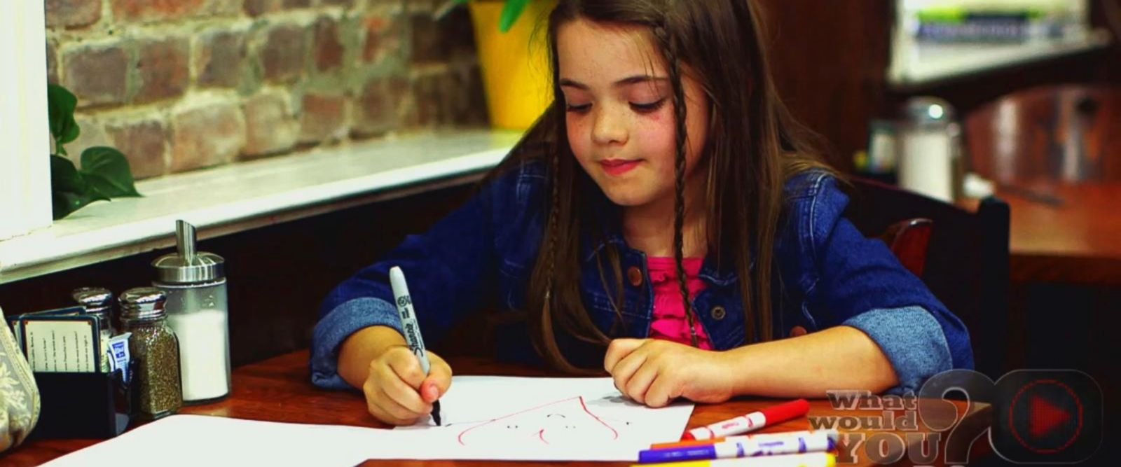 VIDEO: What Would You Do: Little girl draws on paintings with markers in a café