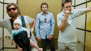Bradley Cooper, Zach Galifianakis and Ed Helms in ?The Hangover?.