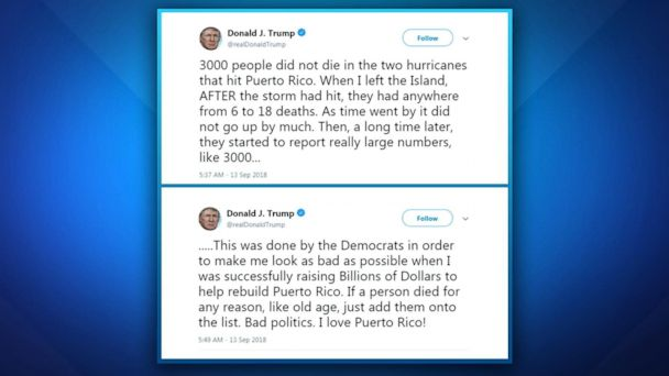 Trump disputes 3,000 deaths in Puerto Rico