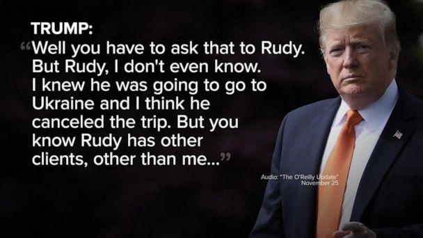 Trump says Giuliani didn't act on his behalf