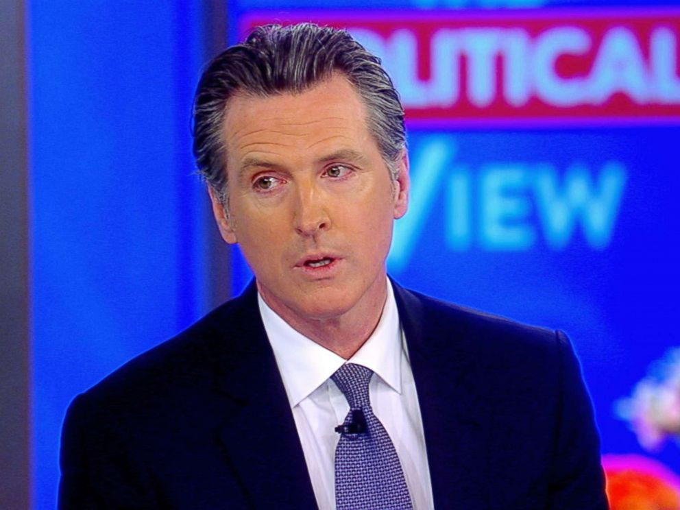PHOTO: California Gov. Gavin Newsom speaks about his moratorium on the death penalty in California while visiting ABCs, The View, March 15, 2019.