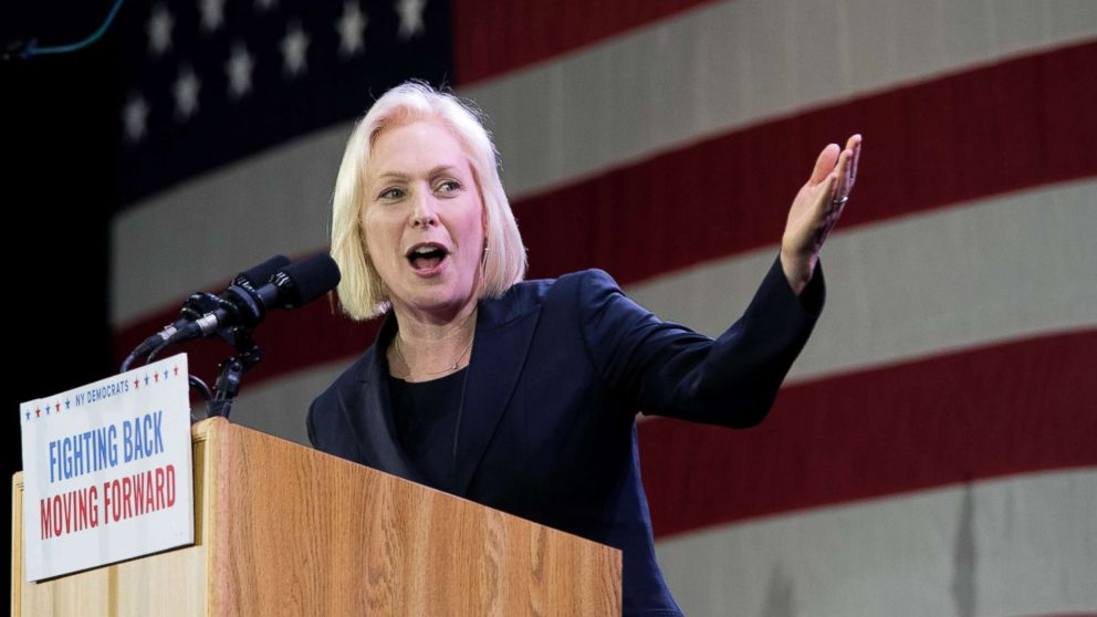 Sen. Kirsten Gillibrand, speaks to supporters during an election night watch party hosted by the New York State Democratic Committee, Nov. 6, 2018, in New York, after being re-elected.