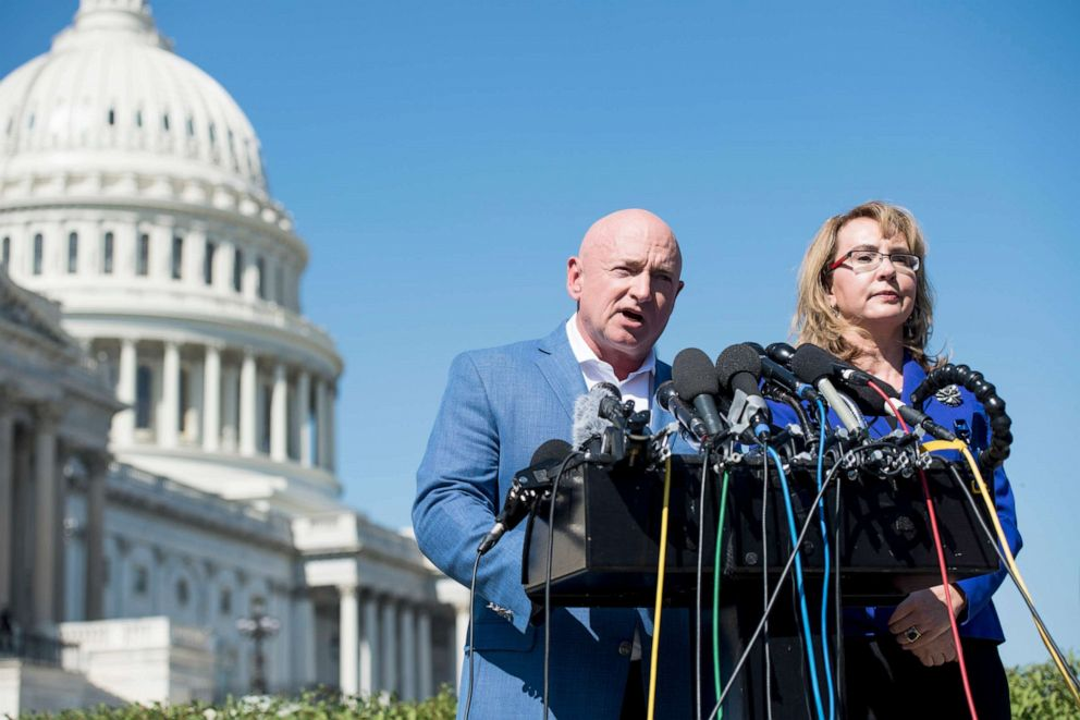 PHOTO: Former Congresswoman Gabrielle Giffords, D-Ariz., and her husband retired NASA astronaut Captain Mark Kelly hold a news conference at the Capitol, Oct. 2, 2017.