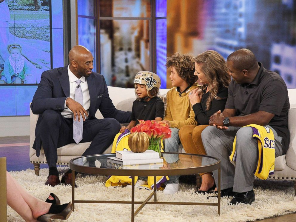 PHOTO: The Thompson family joined The View to discuss how they are giving back to the organization that helped 6-year-old Bryson receive care for his epilepsy - and get a surprise from five-time NBA champion Kobe Bryant.