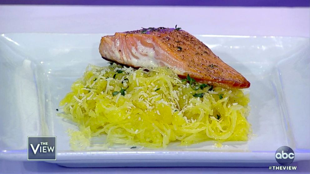 PHOTO: Brooke Burkes oven-baked spaghetti squash featured by celebrity trainer Jorge Cruise on The View.