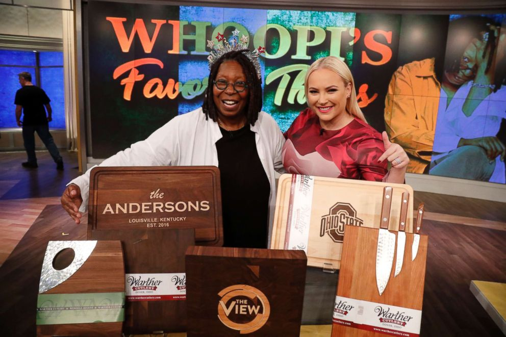 Whoopi Goldberg shares her favorite things including the Warther Cutlery cutting board.
