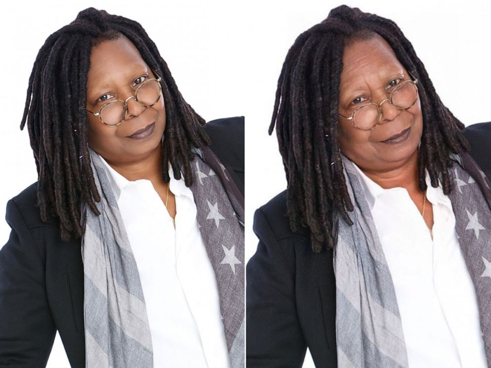PHOTO: Whoopi Goldberg shares her results from using an age-filter on their photos, July 17, 2019.