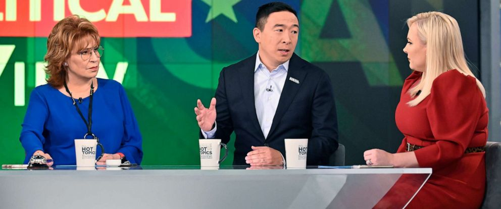 "PHOTO: Democratic presidential candidate Andrew Yang on ABCs ""The View,"" Sept. 26, 2019."
